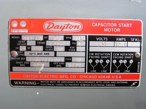 3 Phase Ac Motor Wiring Diagram Dayton 7 5 Hp 1 Ph 1740 Rpm Tefc Electric Motor