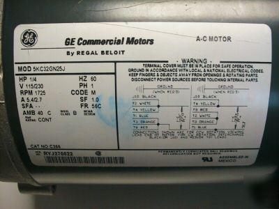 Single Phase Wiring Diagram New Ge Commercial Motor C366 5kc32gn25j Regal Beloit