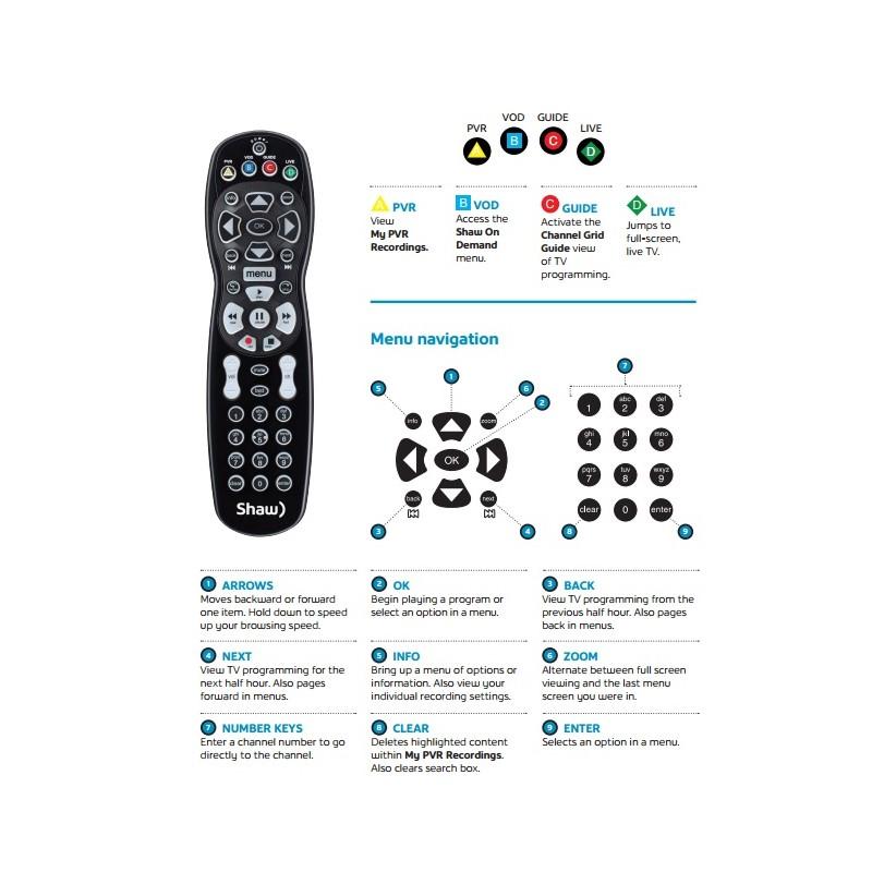 Shaw Gateway PVR Remote Control