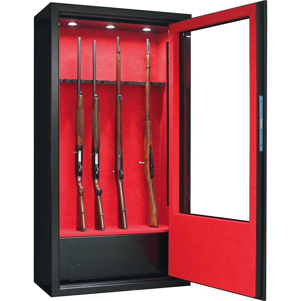 armoire forte infac vitree 10 armes lunette coffre eclairage interieur