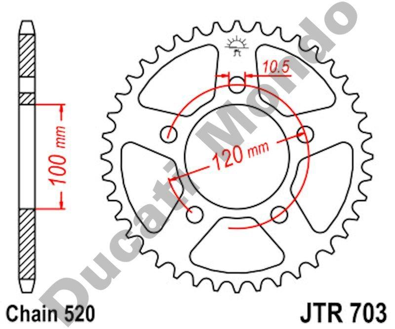 JT rear Sprocket 44 tooth 520 pitch Aprilia RS125 RSVR