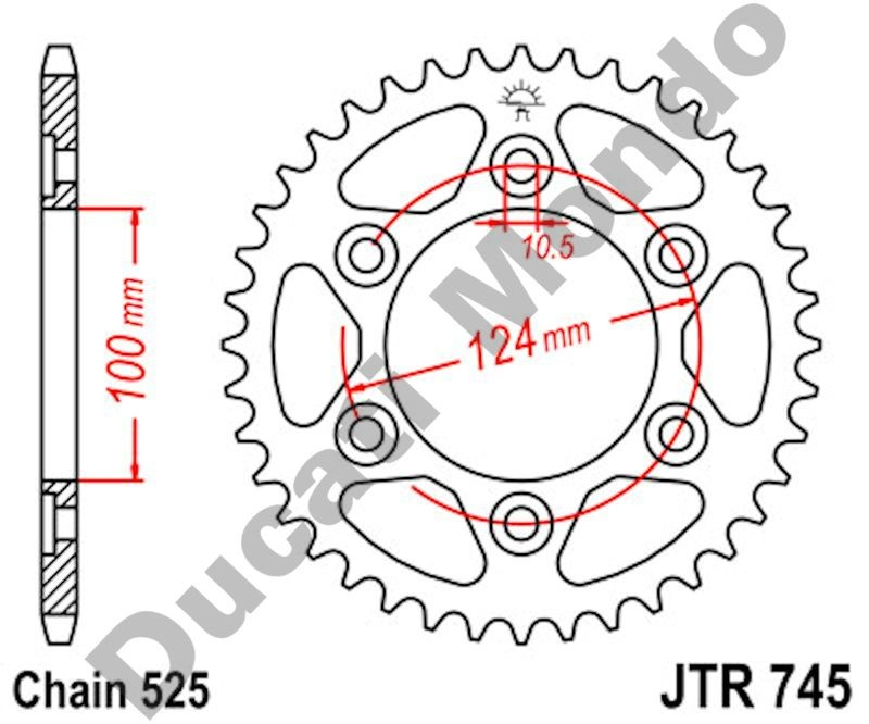JT rear Sprocket 38 tooth Ducati ST2/3/4 Monster 1000