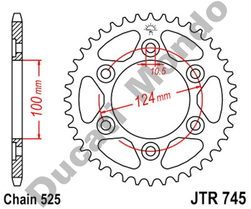 JT rear Sprocket 37 tooth Ducati ST2/3/4 Monster 1000