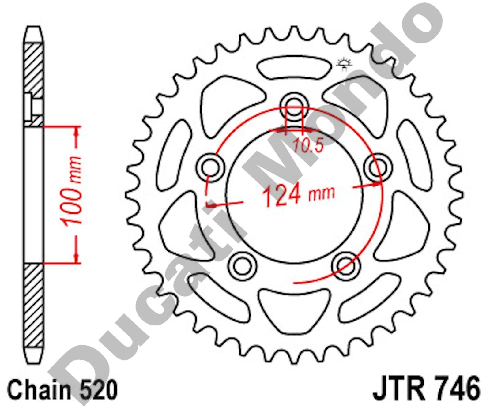 JT Sprockets 44 tooth steel rear sprocket Ducati 899 959