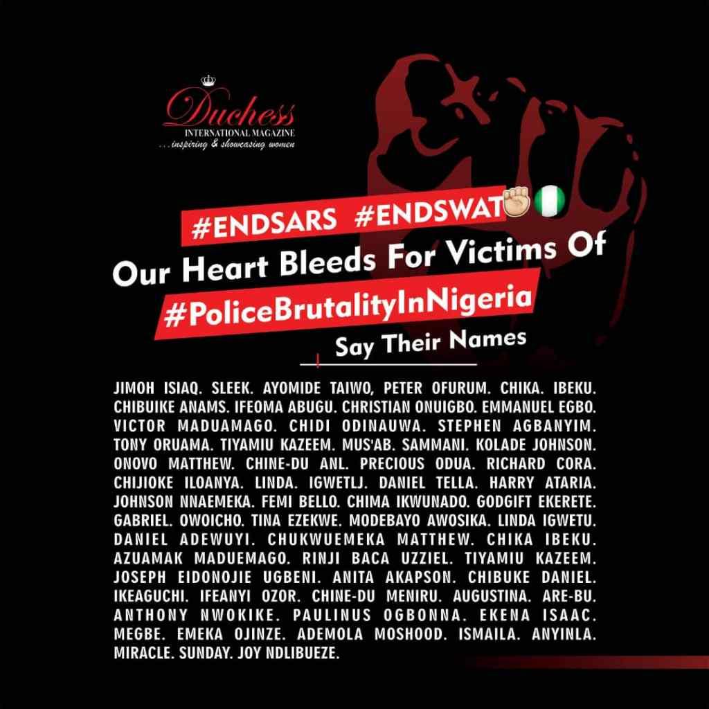 #EndSARS #EndSWAT Victims of police brutality in Nigeria
