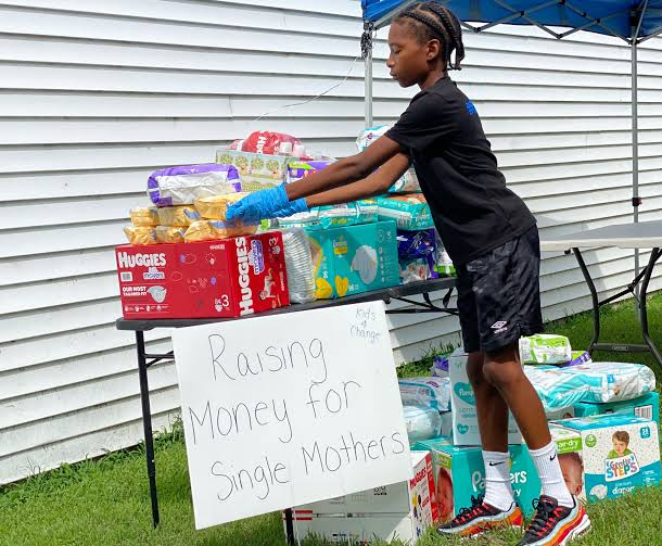 11-year-old Cartier Carey who sold lemonade to raise money to buy over 22,000 diapers to donate to single mums during the pandemic