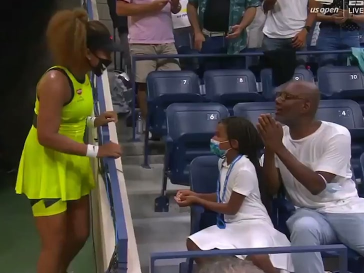 A 👑 #Queen 💯 Naomi Osaka heard a young fan cheering her on at U.S Open Match and gifted her a treasure!