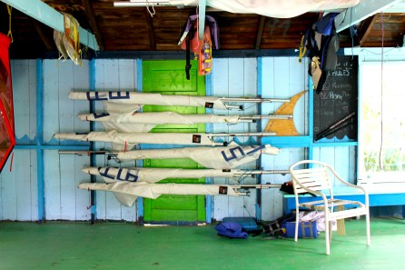 Inside the sailing shack.