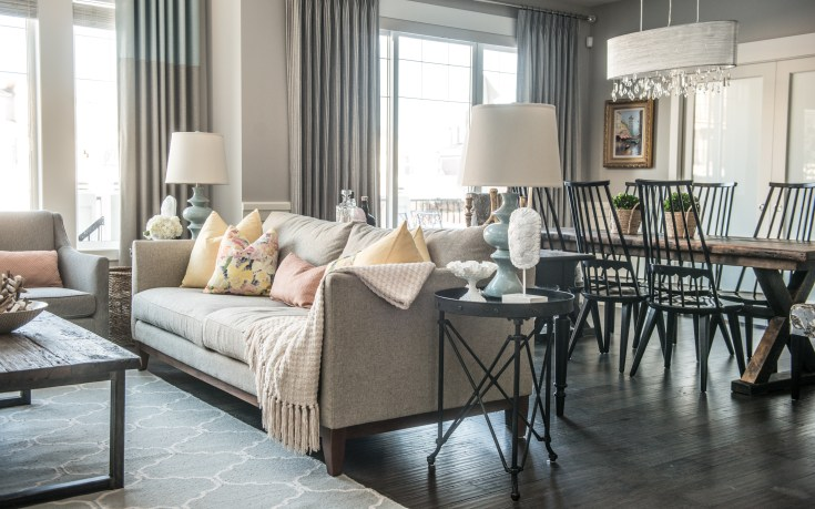 A calming color palette and soft accents warm up this Calgary residence.