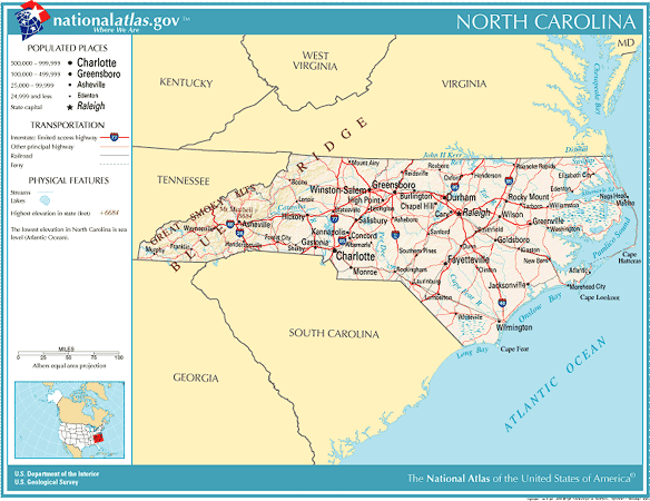 United States Geography For Kids North Carolina