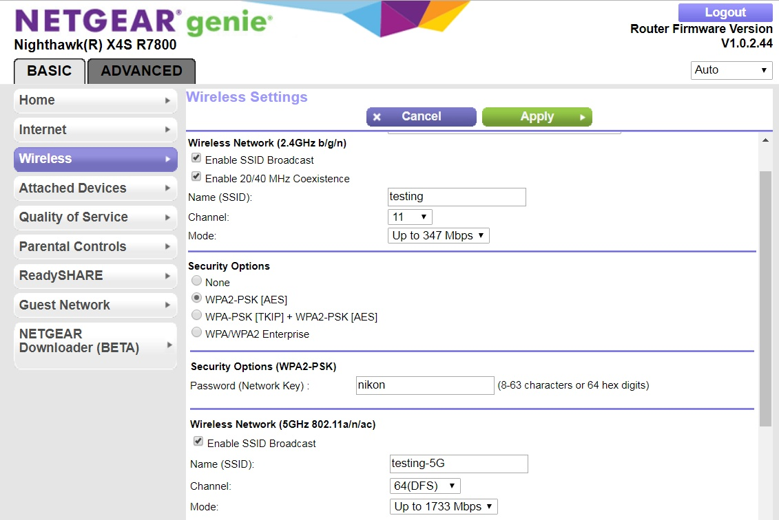 hight resolution of r7800 wireless settings