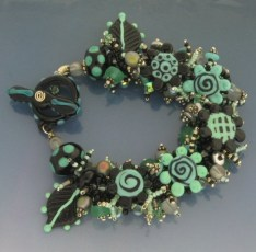 Teal and black bracelet.