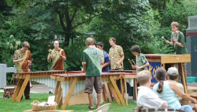 Local Hokoyo Marimba band hard at work entertaining everyone...