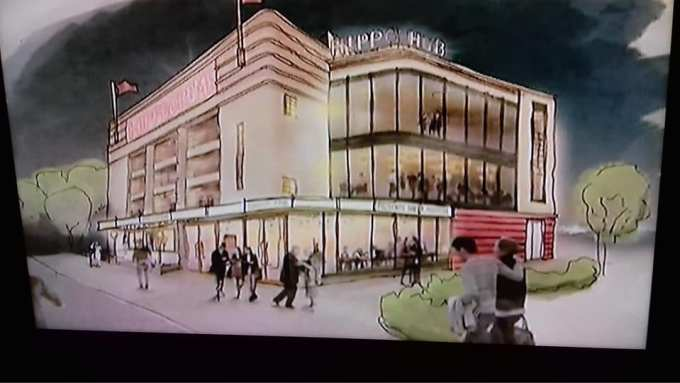 Artist's impression of the refurbished Dudley Hippodrome with new glass extension.