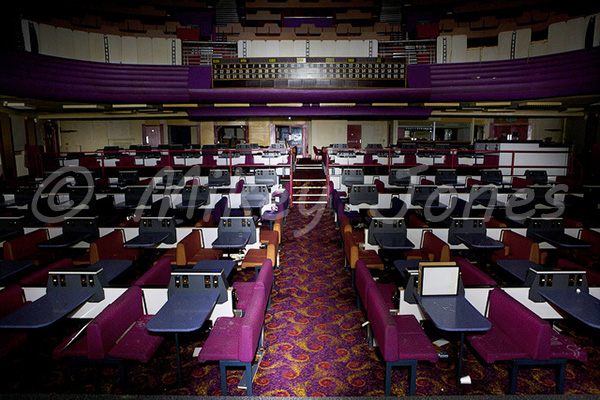 The auditorium as viewed from the stage as set up for bingo. © Mikey Jones.