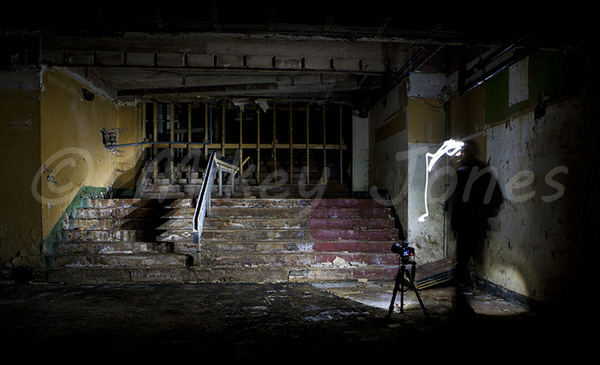 Staircase down to the basement, which was also used for performances. © Mikey Jones.