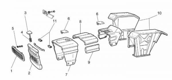 Mascherina anteriore per Trattori Fiat/New Holland