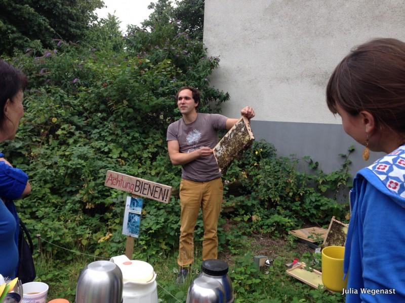 Imker Jannis zeigt seine Bienenvolk