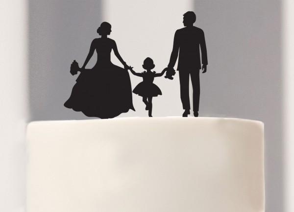 Cake Topper Brautpaar mit Mdchen Silhouette  dueTORI