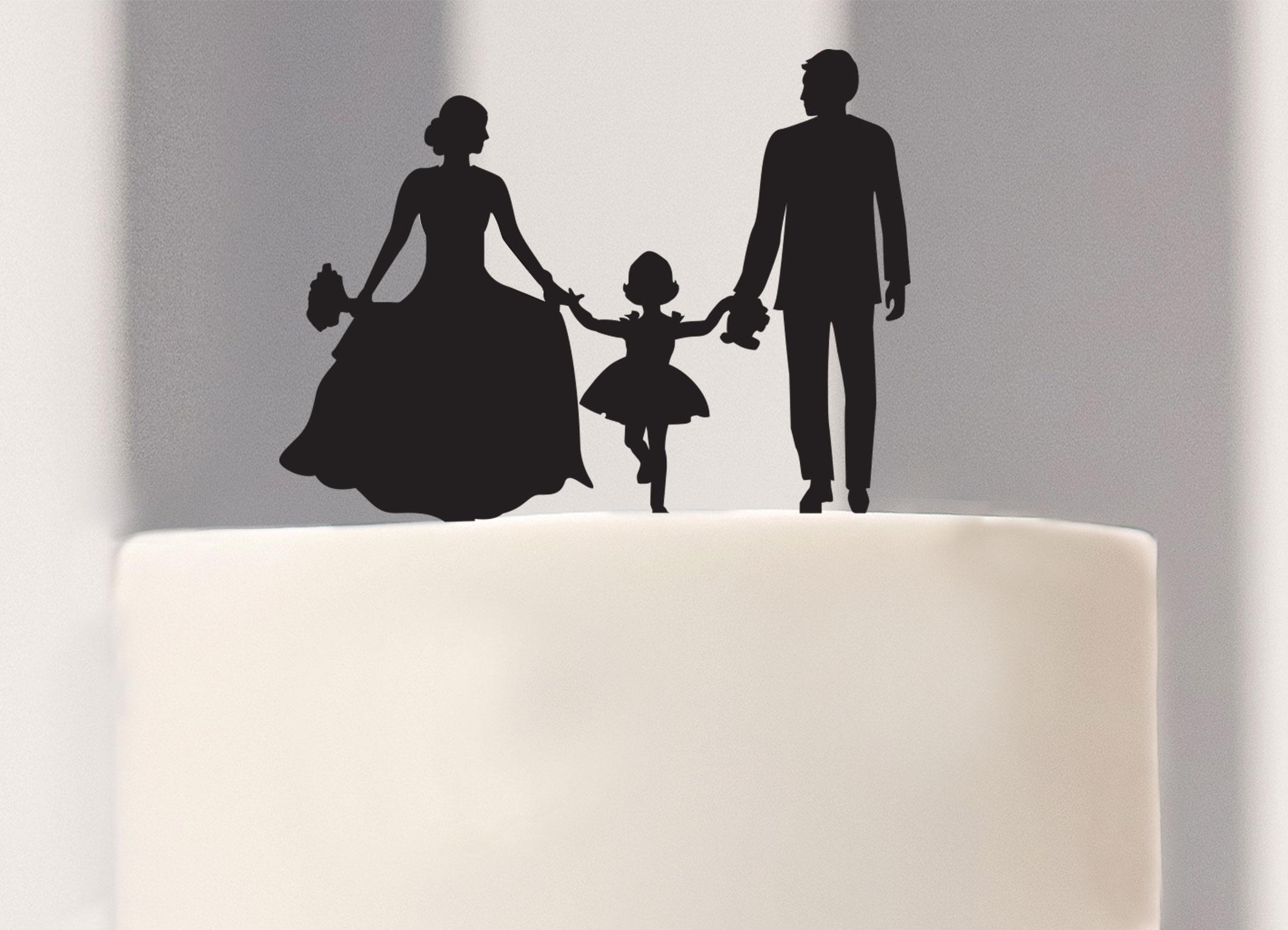 Silhouette Kuchenstecker Brautpaar mit Mdchen  Happy
