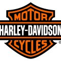 The well known if not famous harley davidson logo is on the left