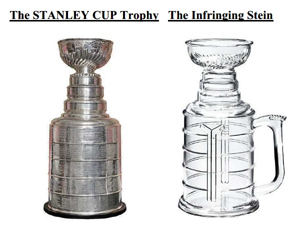 at issue is the nhl s rights in the design of its championship trophy the stanley cup and the defendants sale of allegedly infringing beer mugs shaped