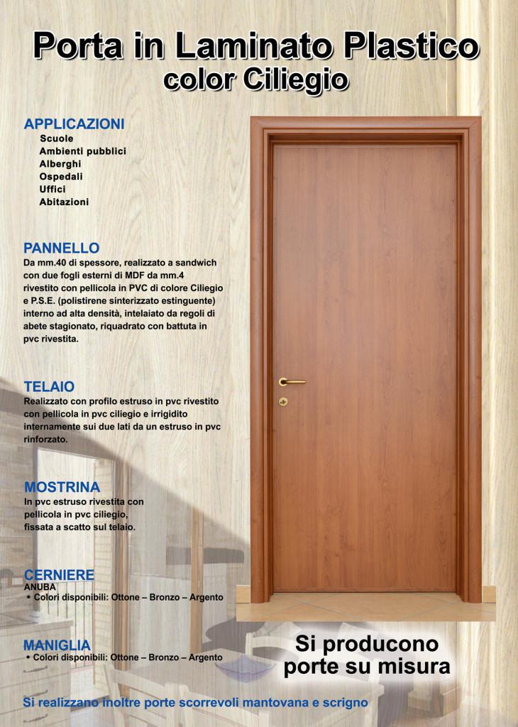 Porta PVC con pannello laminato polistirolo effetto legno