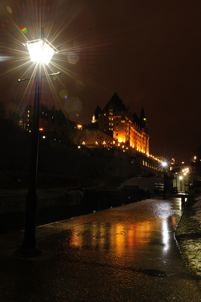 Icy walk below the Chateau Laurier