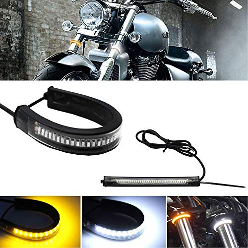 New Motorcycle Front Fork Flexible Dual-Color White & Amber Turn Signal LED DRL Lights (Set of 2)