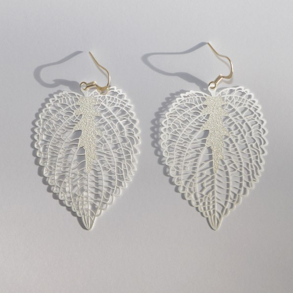 Silver toned heart leaf earrings