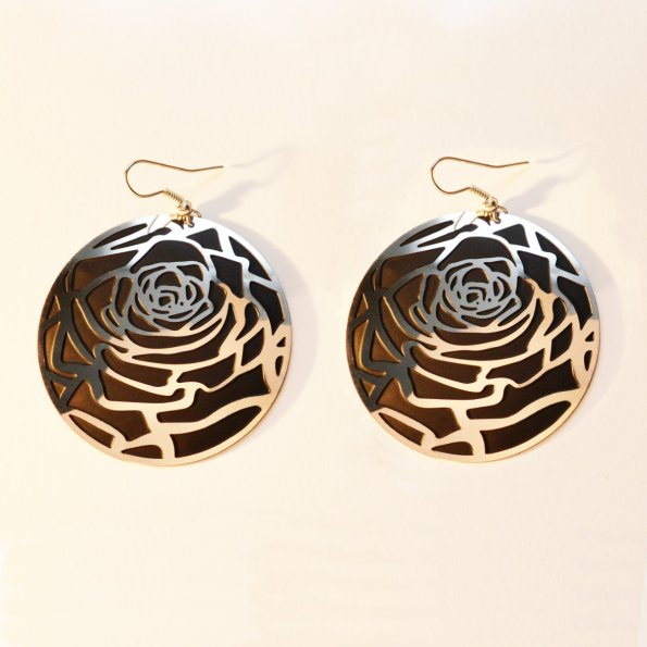 Polished steel rose earrings