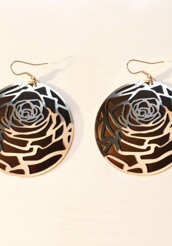 Polished steel rose earrings