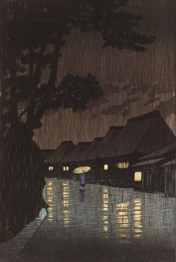 Rain at Maekawa, Sochu Kawese Hasui 1932