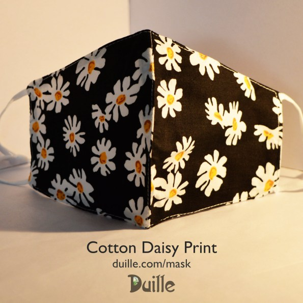 Cotton daisy print face mask
