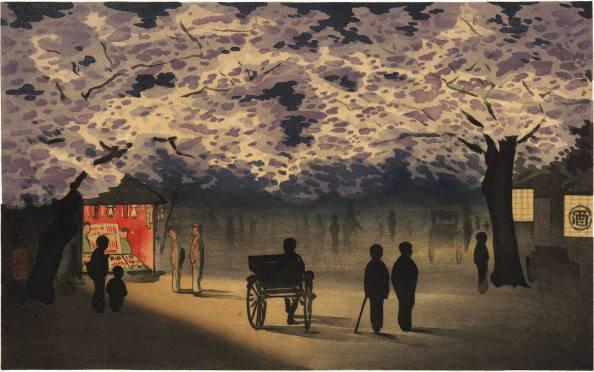 """""""Cherry Blossom at Night"""". Kobayashi_Kiyochika."""