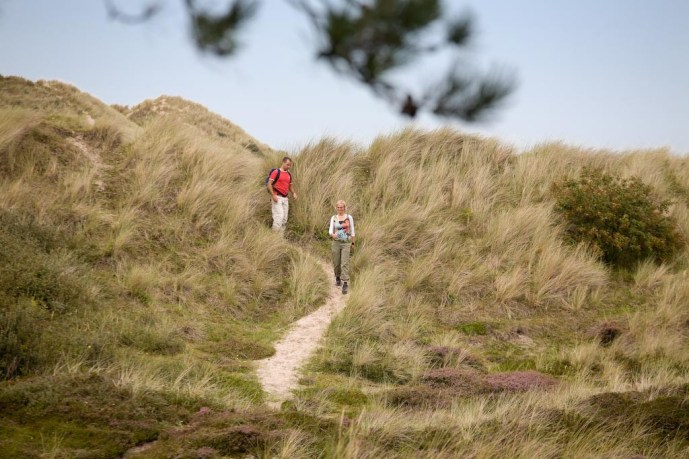 Wandelaars in duinen Terschelling - foto Visit Wadden