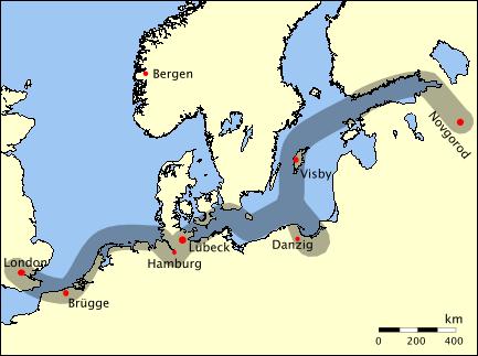 Historische handelsroute van de Hanse