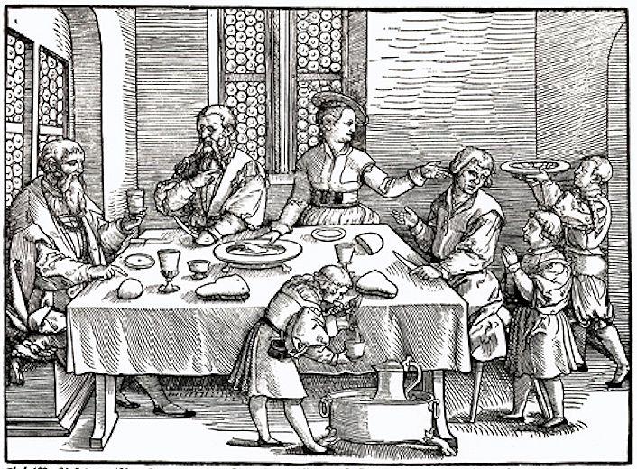Houtsnede van Georg Penz: een scene aan tafel. (ca. 1540) © Bildarchiv Preußischer Kulturbesitz