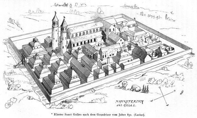 Het indrukwekkende klooster Sankt Gallen, zoals dit er mogelijk uitgezien heeft.