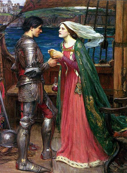 Tristan en Isolde met heft gif. Schilderij van John William Waterhouse, ca. 1916