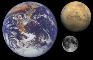 De aarde,Mars en de maan