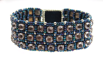 Rhinestone-and-beads-bracelet