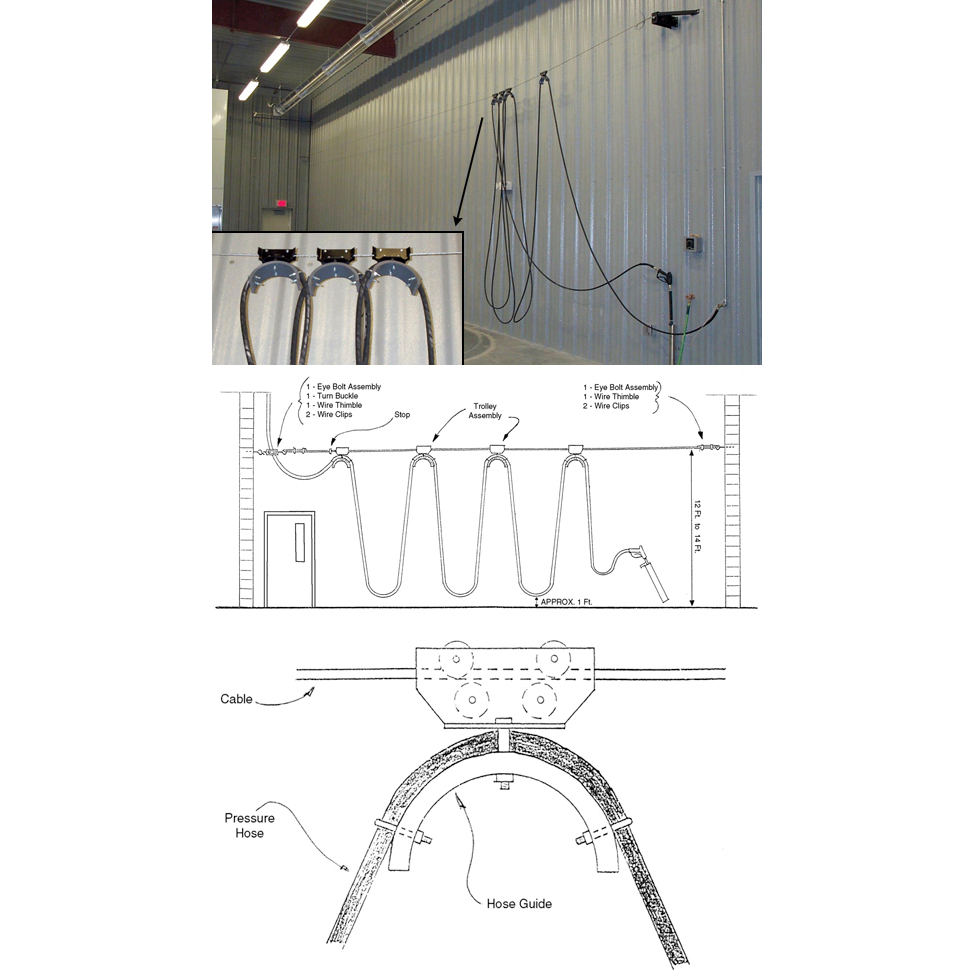 hight resolution of car wash bay hose trolley system