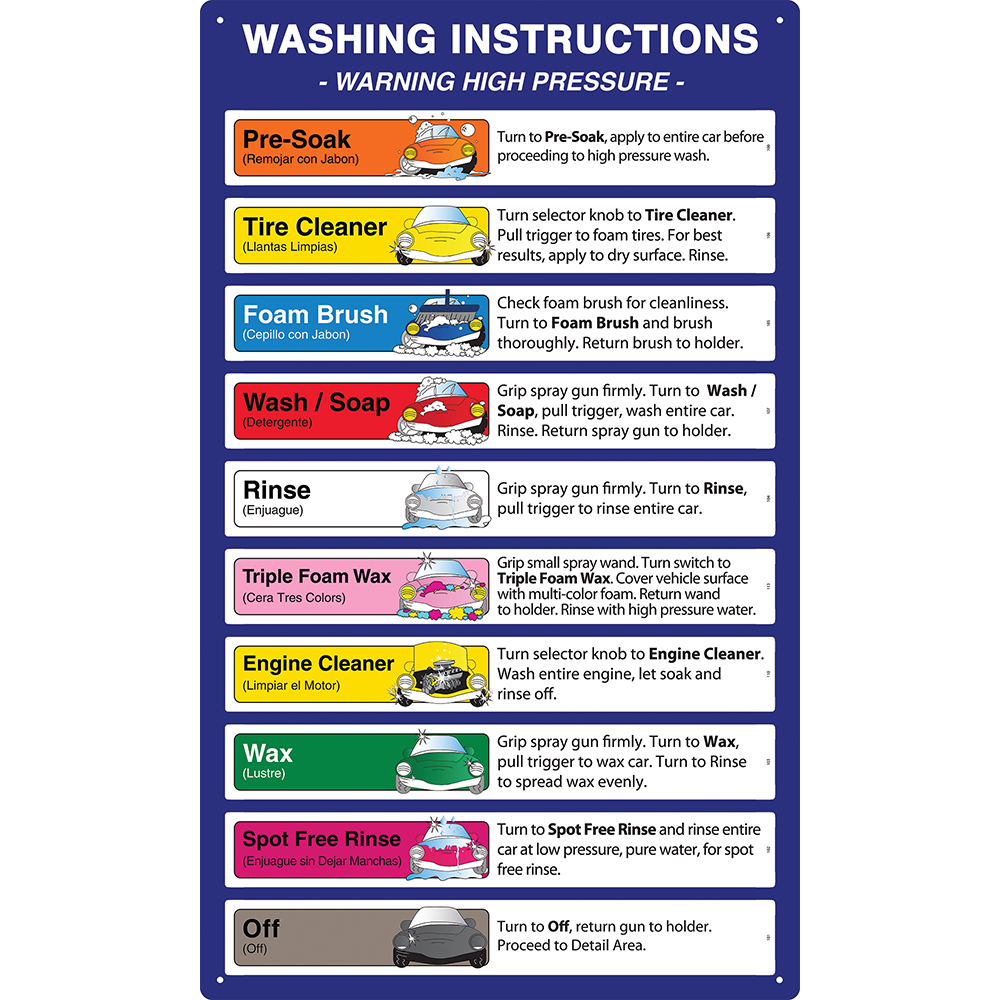 hight resolution of carwash bay menu signs