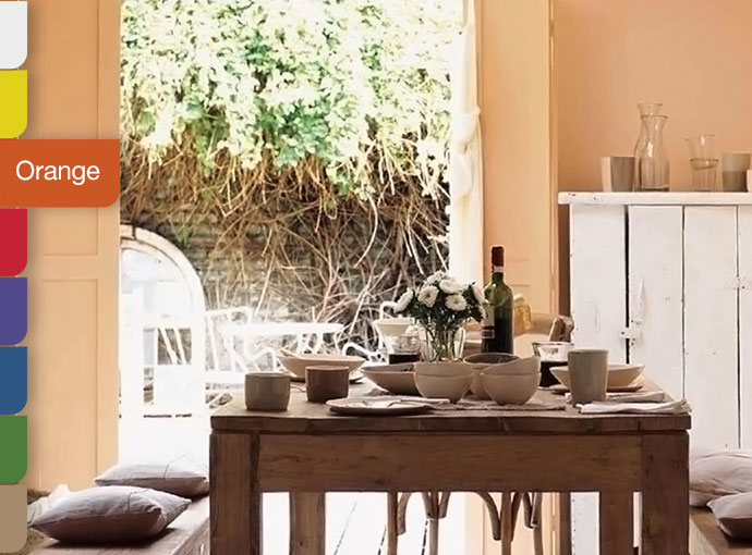 orange living room walls chaise lounge arrangement dulux
