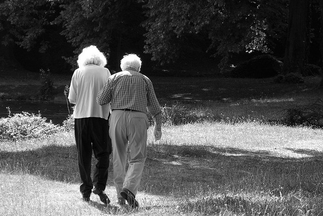 Elderly Couple Linking Arms - By  Clapagara