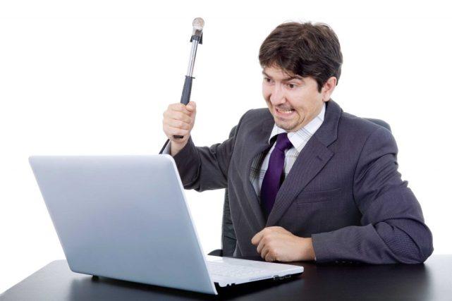workman blaming his tools