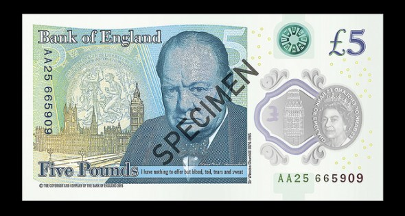 Have No Fear, The New Plastic Fiver Is Here! Winston Churchill Five Pound Note - Image By Bank Of England