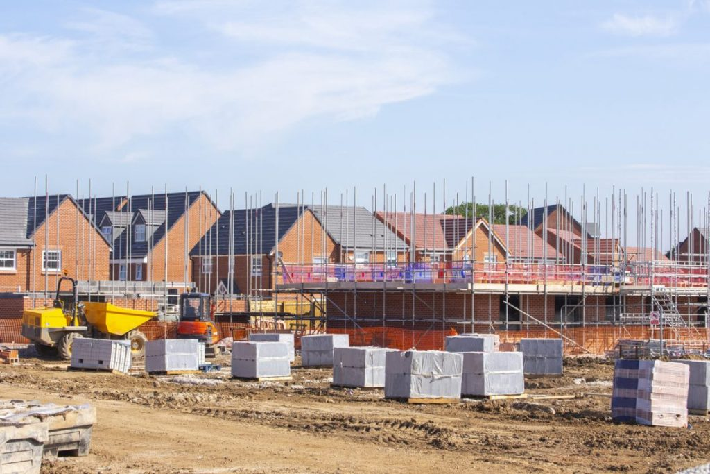 New build houses building construction site UK