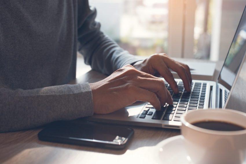 Man, Laptop, Coffee, Phone